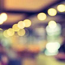 Blurred background : Customer at cafe blur background with bokeh light, Vintage filter.