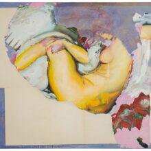 """Schanna Saranzew, """"Leda und der Schwan"""" (2013, Mischtechnik auf Baumwolle, 80 x 100 cm)"""